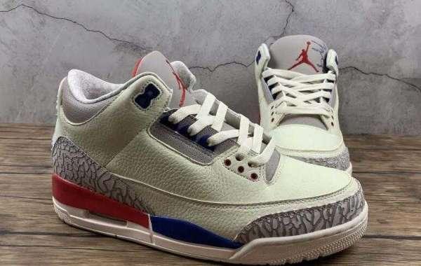 Air Jordan 3 Retro Milky White Grey Blue Red